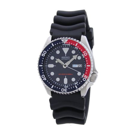 Seiko Men's Divers 42mm Black Silicone Band Steel Case Hardlex Crystal Automatic Blue Dial Watch SKX009 ()