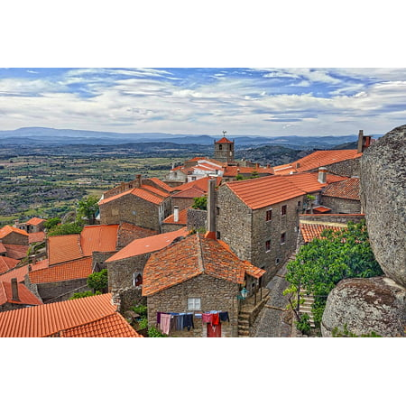 Canvas Print Red Village Landscape Rooftops Tiles Roofing Stretched Canvas 10 x 14