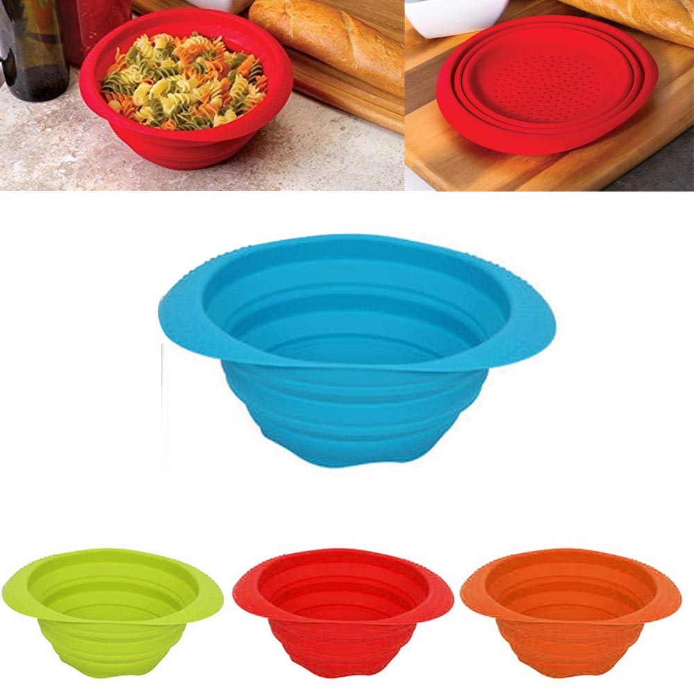 Click here to buy 1 Collapsible Silicone Strainer Colander 7??? Kitchen Sink Knockdown Drainer Tool by 4SGM.