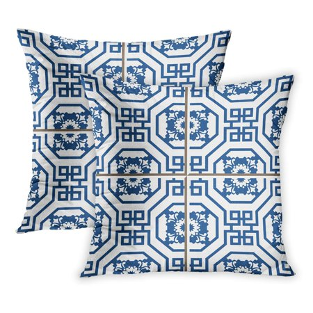 Octagon Flower - ECCOT Interior Vintage Wall Tiles of Blue Octagon Spiral Flower Patterns Fills White PillowCase Pillow Cover 20x20 inch Set of 2