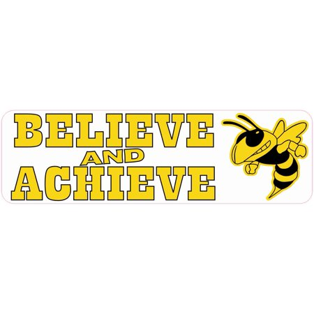 10in x 3in Believe and Achieve Yellow Hornet Magnet School Sports Mascot - Hornet Mascot