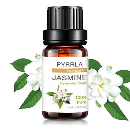 Pyrrla Essential Oil 10Ml Jasmine, Pure Therapeutic Grade Aromatherapy Essential Oils Basic Sampler Oils For Diffuser, Humidifier, Massage, Aromatherapy, Skin & Hair Care