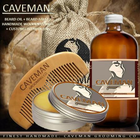 Hand Crafted Caveman Beard Oil Conditioner + Beard Balm + Custom Wood Comb + Custom Cave Bag, Scent: Bay Rum (Caveman Decorations)