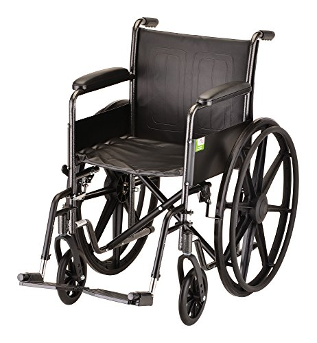 "NOVA Medical Products 16"" Steel Wheelchair with Fixed Arms and Footrests"