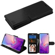 "Samsung Galaxy S10 Plus (6.4 inch) Phone Case Leather Flip Wallet Case Cover Pouch Magnetic Buckle with Credit Card Slots Holder Stand BLACK Phone Case Cover for Samsung Galaxy S10+ / S10 PLUS (6.4"")"