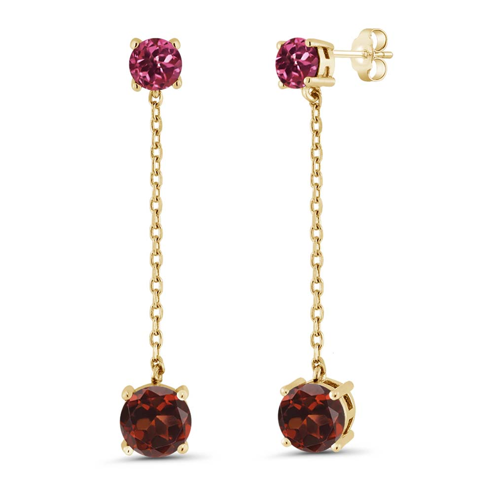 3.60 Ct Round Red Garnet Pink Tourmaline 18K Yellow Gold Plated Silver Earrings by