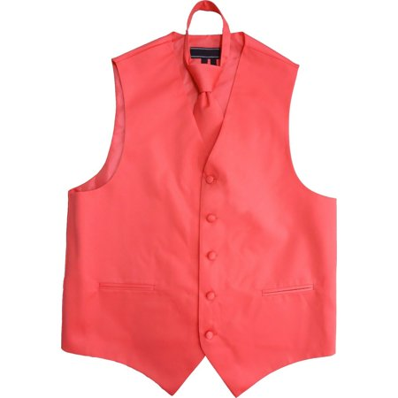 Men's Solid Color Adjustable Dress Vest & Neck Tie Set for Suit or Tuxedo (Coral, M) ()