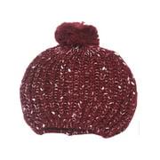 Girls Burgundy White Rib Stitch Knit Pompom Bobble Beanie Hat