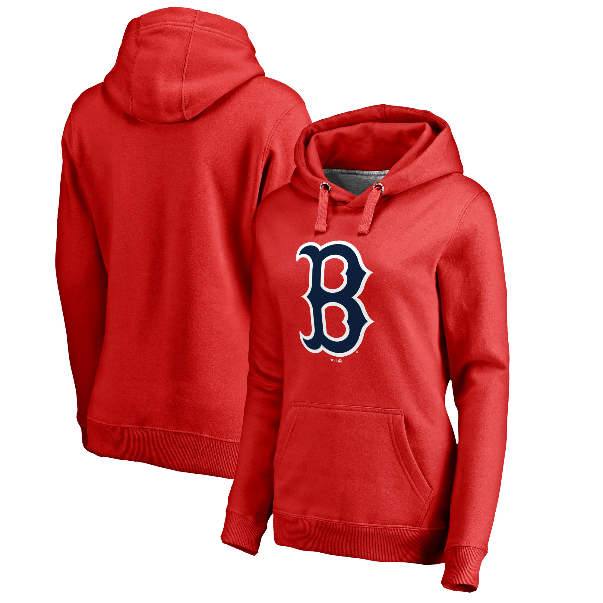 Boston Red Sox Women's Plus Sizes Primary Team Logo Pullover Hoodie - Red