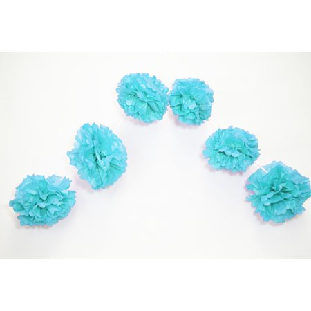 Party Pom Poms (Quasimoon EZ-FLUFF 6'' Turquoise Hanging Tissue Paper Flower Pom Pom, Party Garland Decoration by)