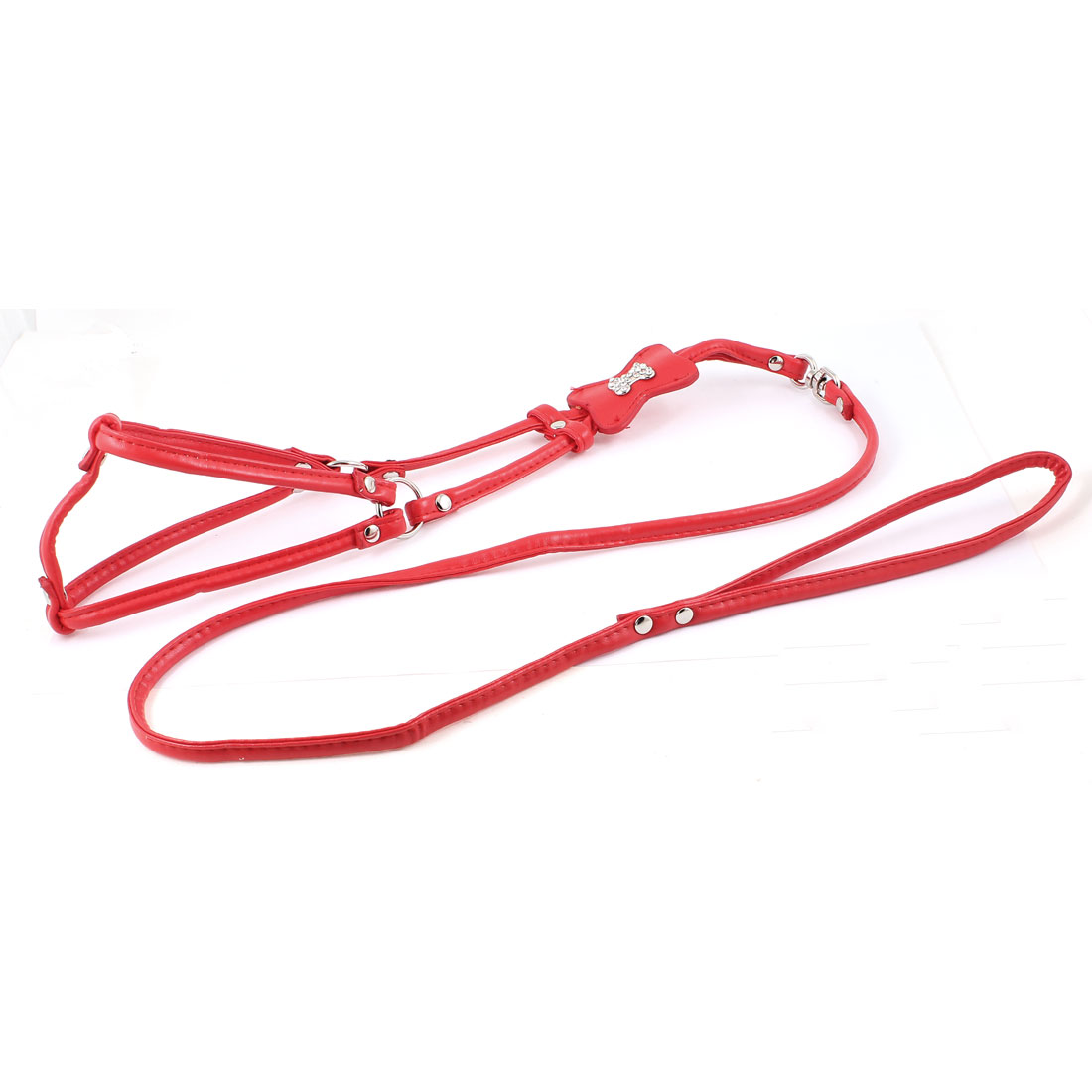 Unique Bargains Dog Doggie Bone Ornament Red Faux Leather Harness Vest Pet Safety Belt