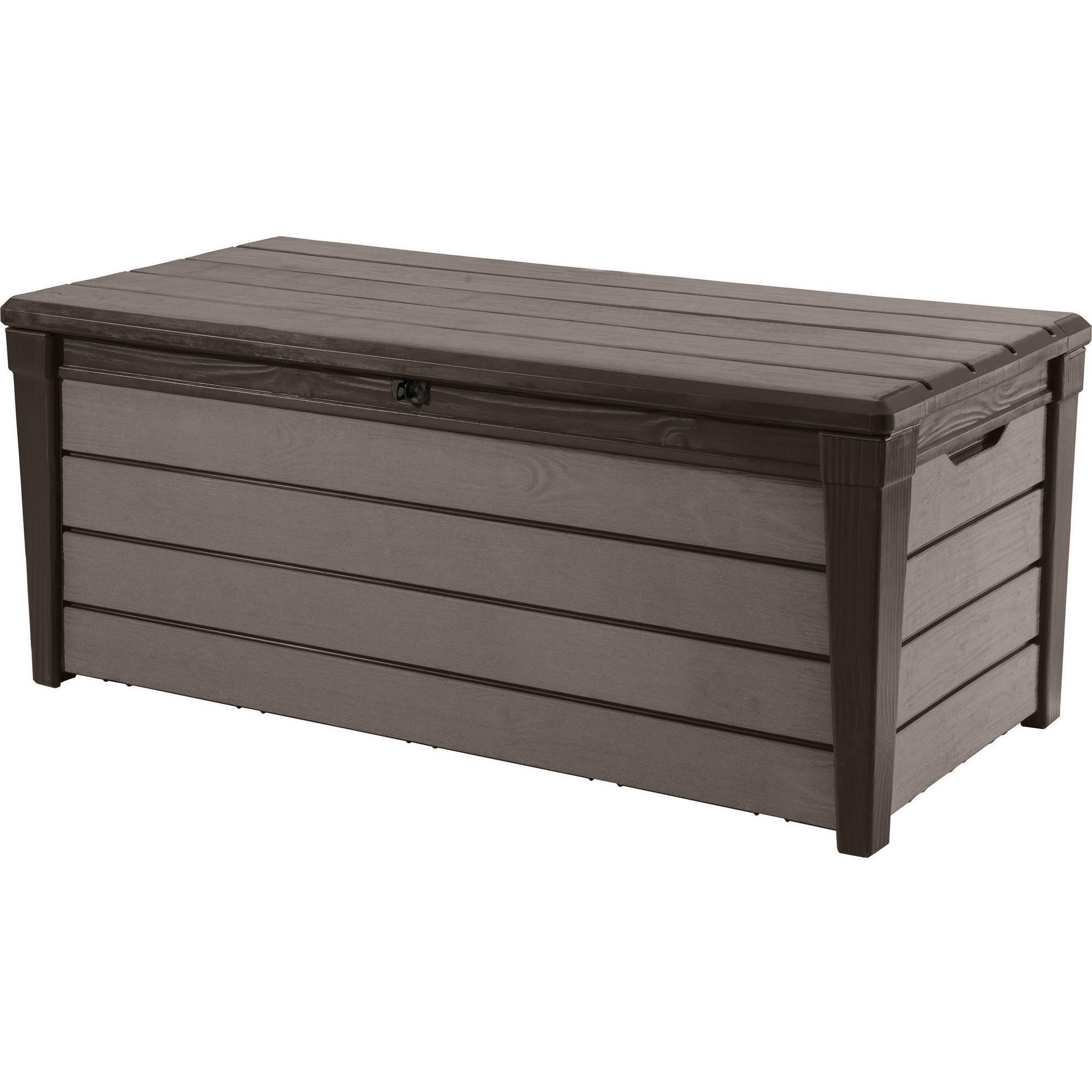 Keter Brushwood 120-Gal Outdoor Storage Deck Box, Espresso Brown
