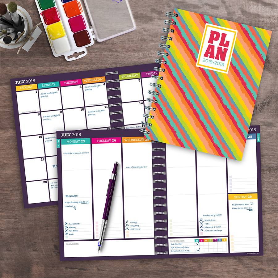 "2019 Bright Stripes Plan ME July 2018 June 2019 Academic Year 8""x6.5"" Medium Weekly Monthly Planner by TF Publishing"