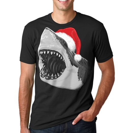 Crazy Dog T-shirts Mens Santa Jaws T Shirt Cool Christmas Hat Shark Pun Tee