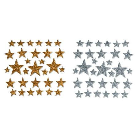 Foamies Glitter Stickers: Glitter Stars Gold & Silver Star Glitter Stickers