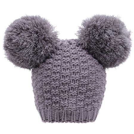 d829ed193 Women's Winter Knit Pompom Ski Snowboard Beanie Hat, Double Poms_Grey