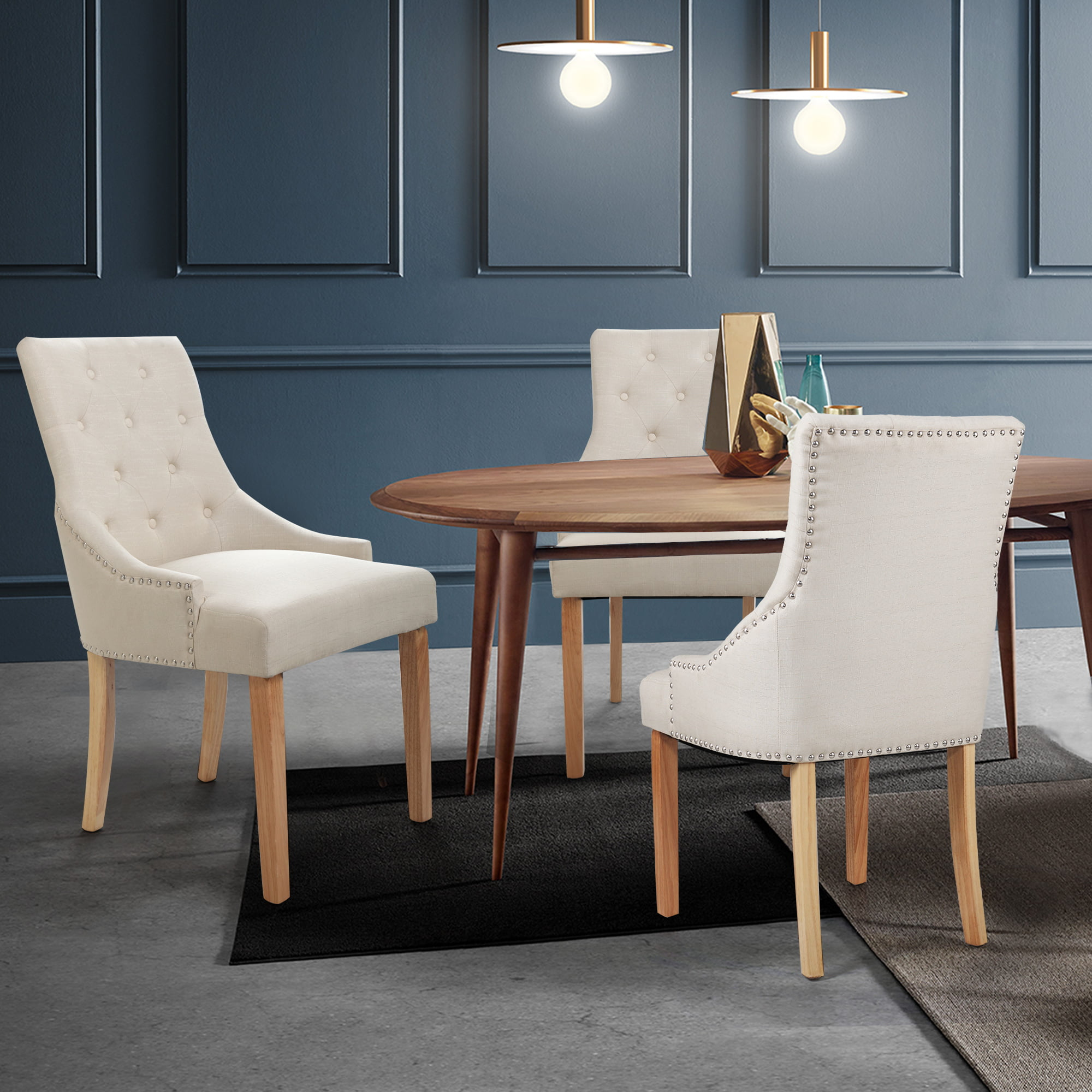 jaxpety set of 2 dining chairs elegant button tufted