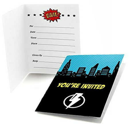 BAM! Superhero - Fill In Baby Shower or Birthday Party Invitations (8 count)](Superhero Invitations)