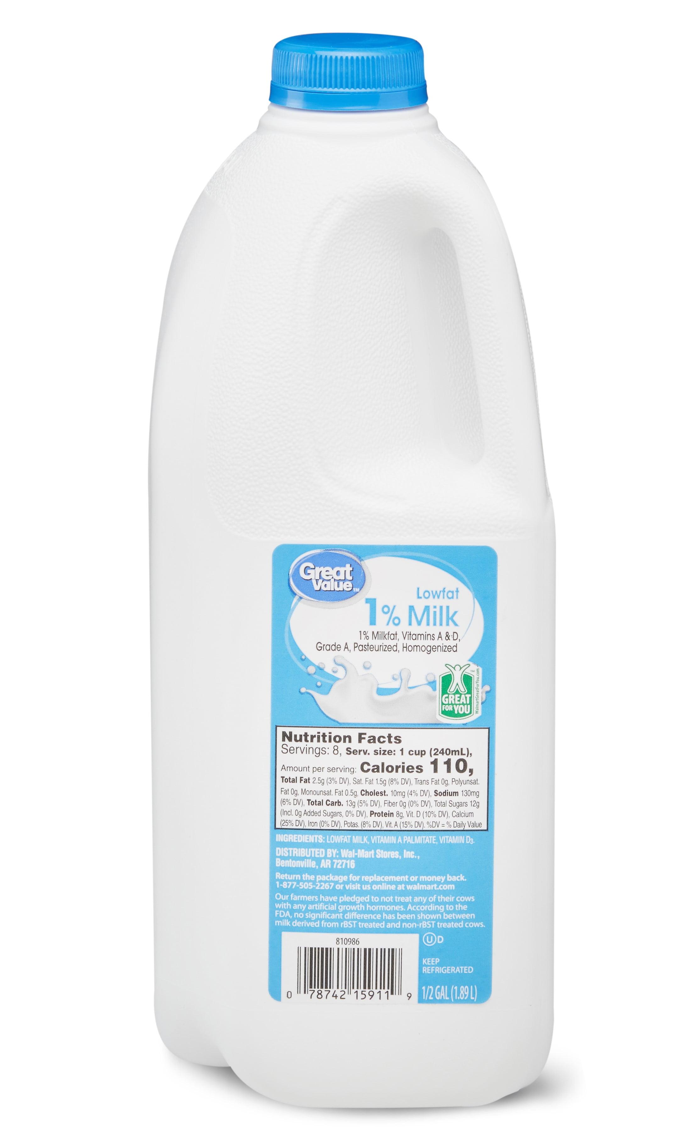 Great Value 1% Low Fat Milk, 0.5 Gallon, 64 Fl. Oz. - Walmart.com