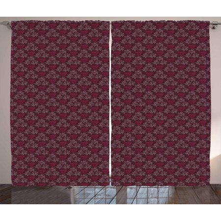 Floral Curtains 2 Panels Set, Ornamental Royal Victorian Garden Leaves with Little Blossoms, Window Drapes for Living Room Bedroom, 108W X 96L Inches, Dark Brown Magenta and Mauve, by Ambesonne