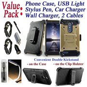 """Value Pack Cables Chargers + for 6"""" ZTE ZMAX PRO CARRY KIRK Case Holster Phone Case Belt Clip 2 Kick Stands Hybrid Armor Rugged Shock Bumper Cover Gold"""