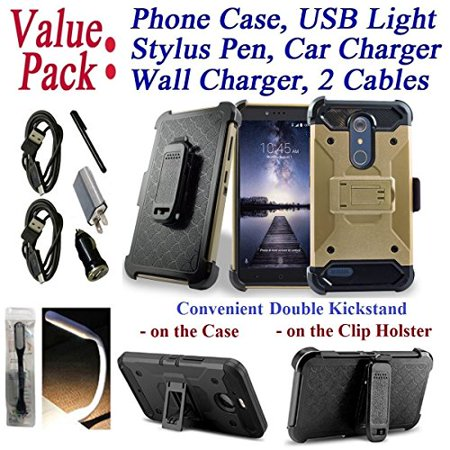 "Value Pack Cables Chargers + for 6"" ZTE ZMAX PRO CARRY KIRK Case Holster Phone Case Belt Clip 2 Kick Stands Hybrid Armor Rugged Shock Bumper Cover Gold"