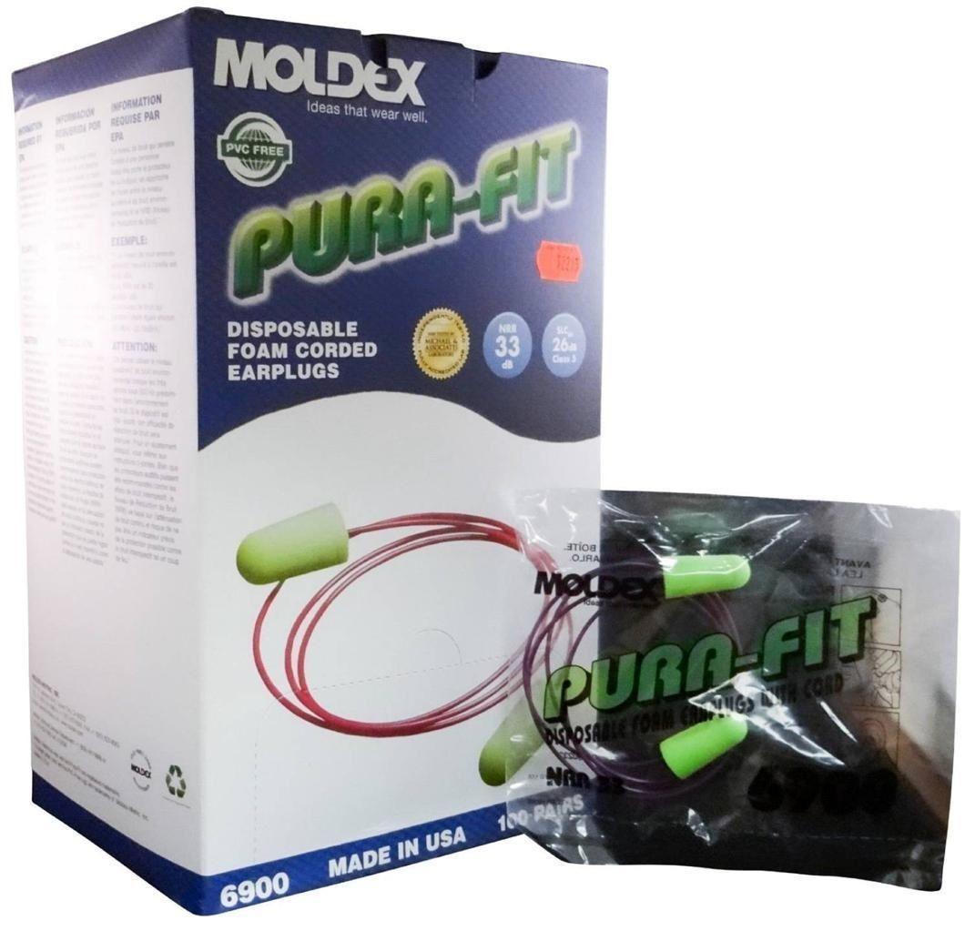 Moldex Pura-Fit Disposable Soft Foam EarPlugs w/ Cord 200 Pairs MS-92215