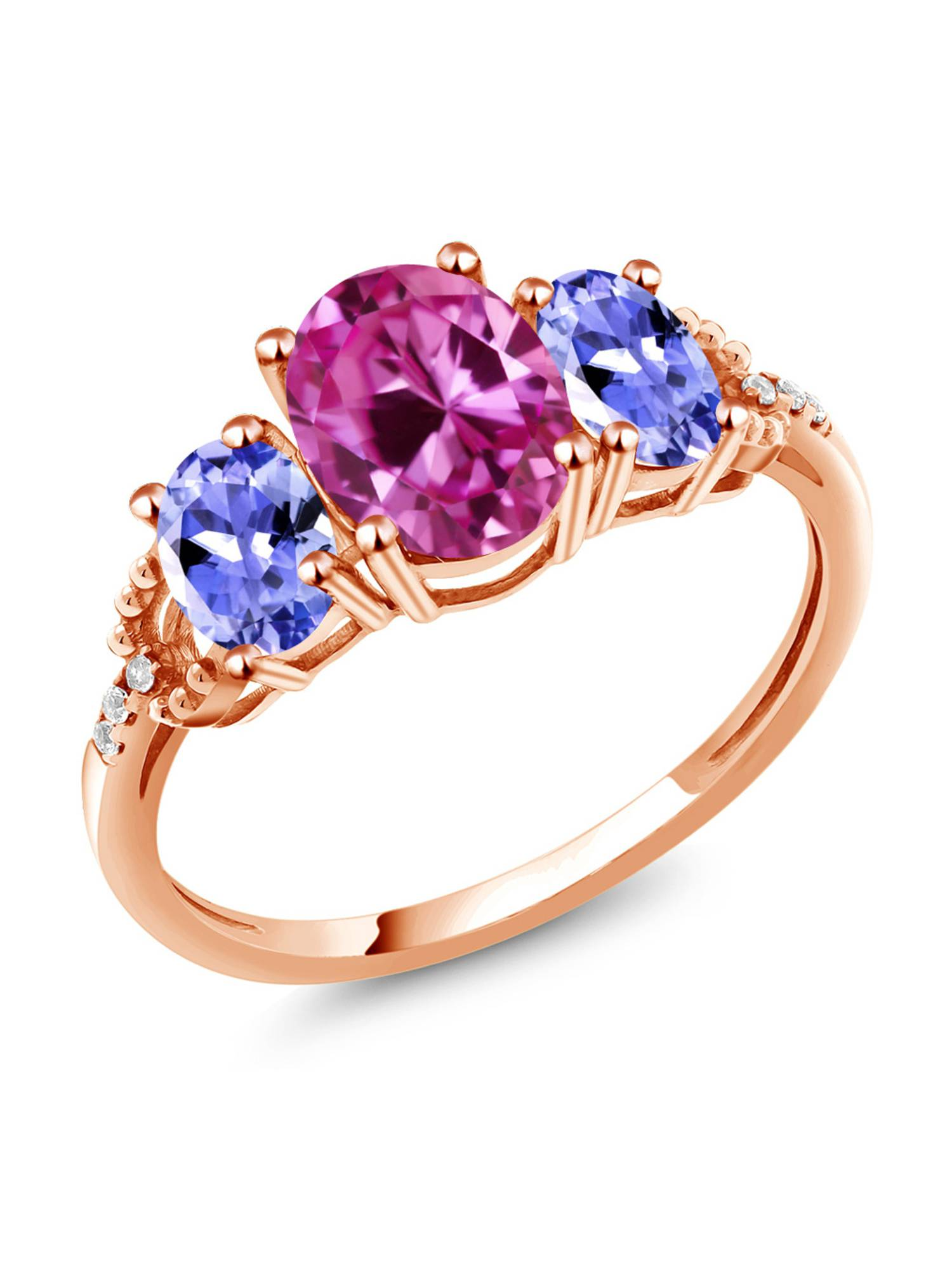 2.59 Ct Pink Created Sapphire Blue Tanzanite 10K Rose Gold Diamond Accent Ring by