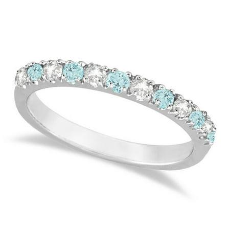 - Diamond and Aquamarine Ring Guard Anniversary Band 14k White Gold (0.32ct)