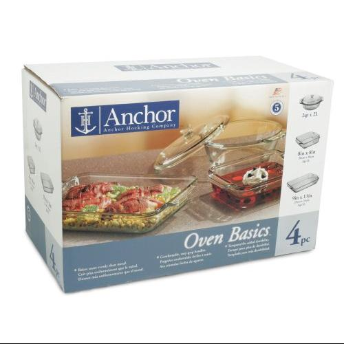 "Anchor 4 Piece Set - 3 Quart Baking Dish, 2 Quart Casserole, Lid, 8"" Length X 8"" Width Baking Dish - Glass - Bakeware Set - For Baking - Yes - Yes - Yes - Clear Box (82748obl11)"