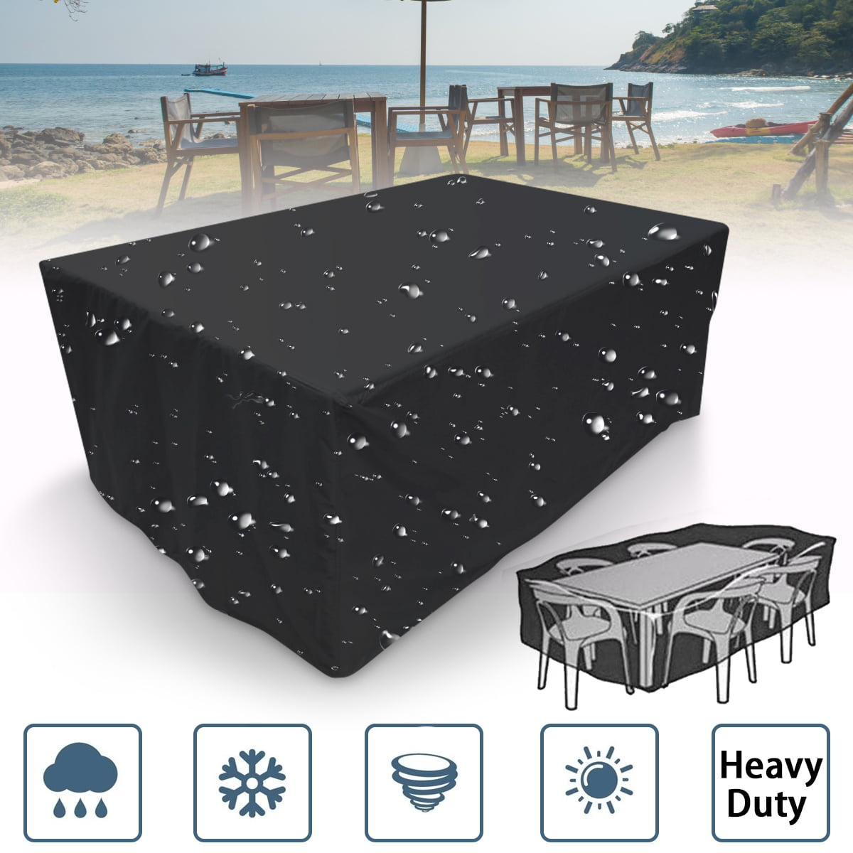4 Size Outdoor Rectangular Waterproof Furniture Cover