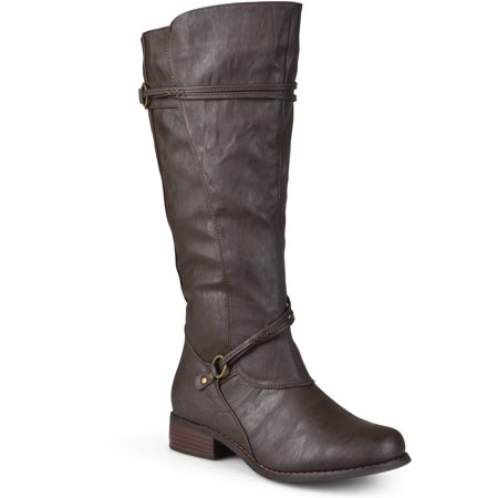 Women Buckle Accent Wide Calf Boots](Harley Flame Boots)