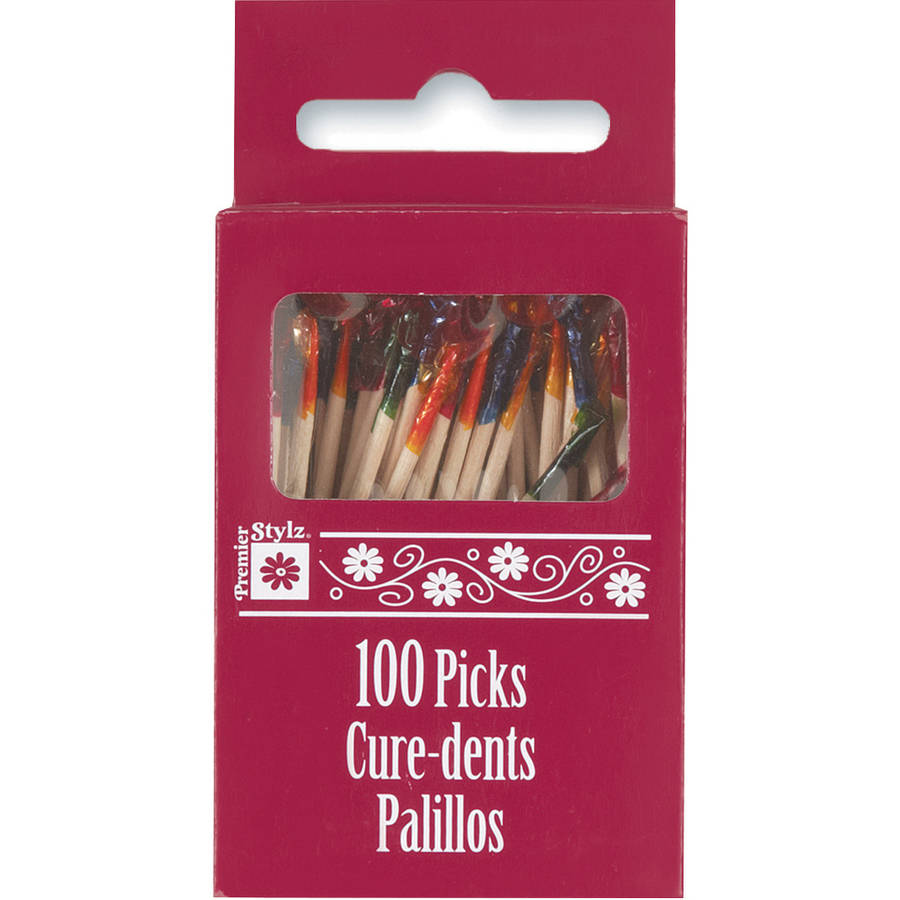 Frilly Cocktail Toothpicks, 2.5 in, Assorted, 100ct