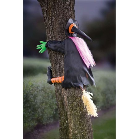Betty Bash Crashing Witch Into Tree Halloween Decoration, Fabric By Sunstar Industries