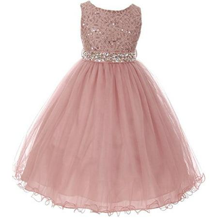 Dreamer P - Little Girls Sleeveless Sequins Rhinestones Tulle Pageant Flower  Girl Dress Mauve 6 (M3B4K0) - Walmart.com 1e8180e7f