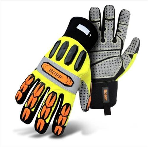 Boss 1JM600X Extra Large Mechanics Style Miner Gloves in High Visibility with Yellow Back - Pack of 6