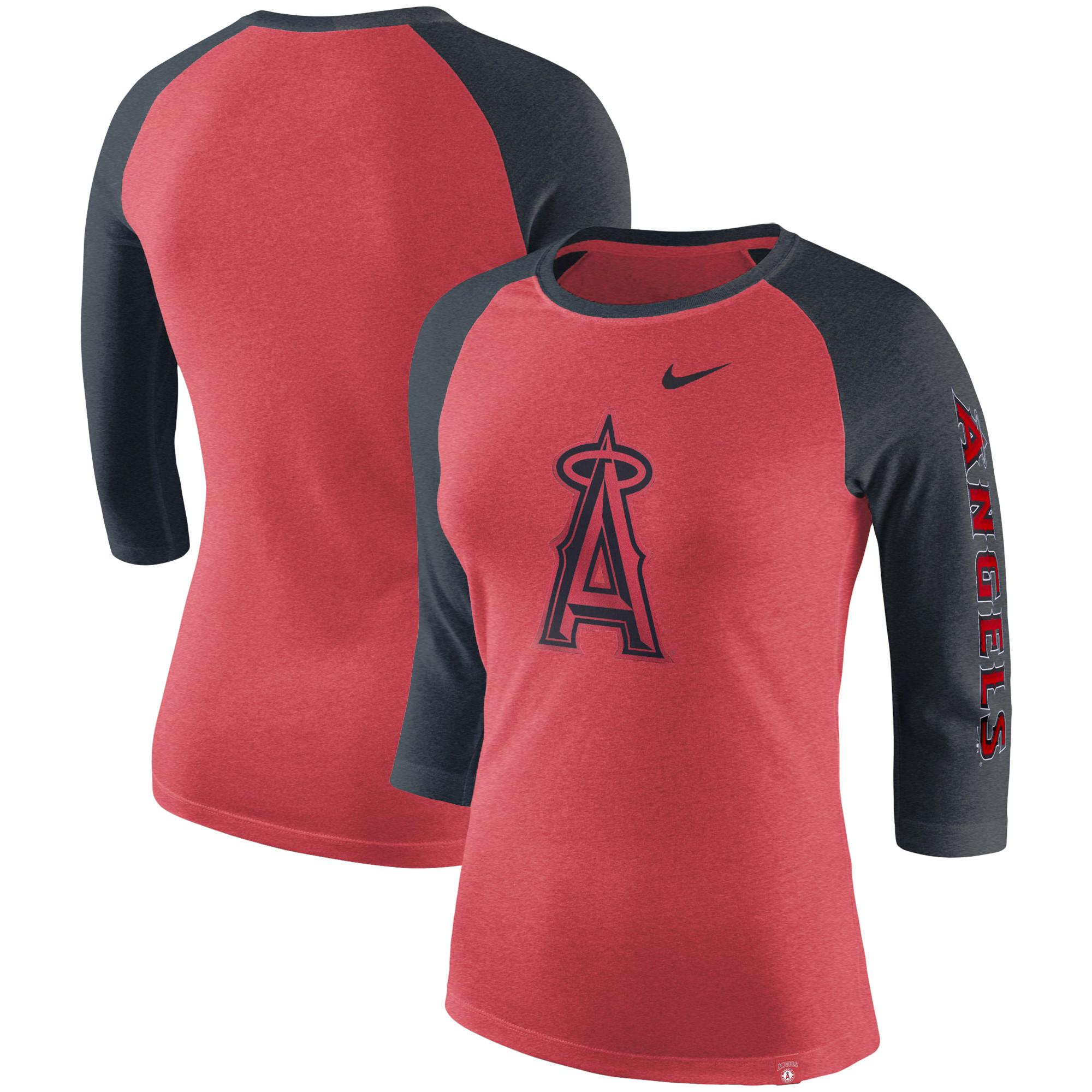 Los Angeles Angels Nike Women's Tri-Blend 3/4-Sleeve Raglan T-Shirt - Heathered Red/Heathered Navy