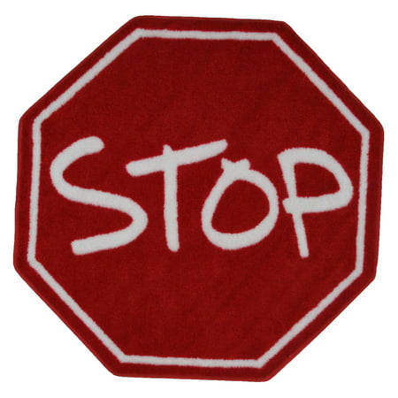 Boy Rag - Fun Rugs Fun Time Stop Sign Round Rug, Red/White