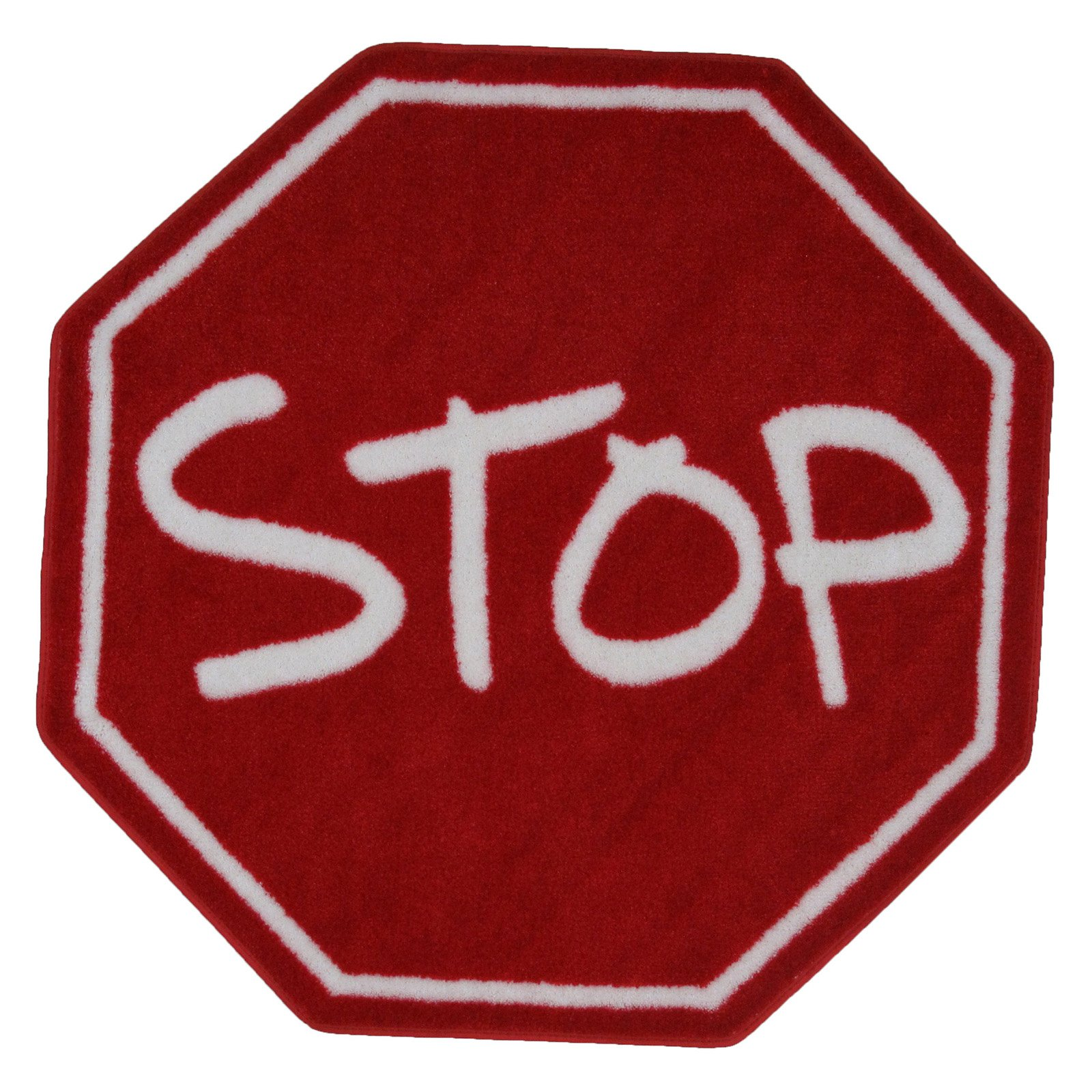 Fun Rugs Fun Time Stop Sign Round Rug, Red/White