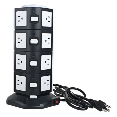 Ac 110V Us Plug Vertical Smart Socket 14 Us Outlet 4 Usb Ports 6 Ft White Black