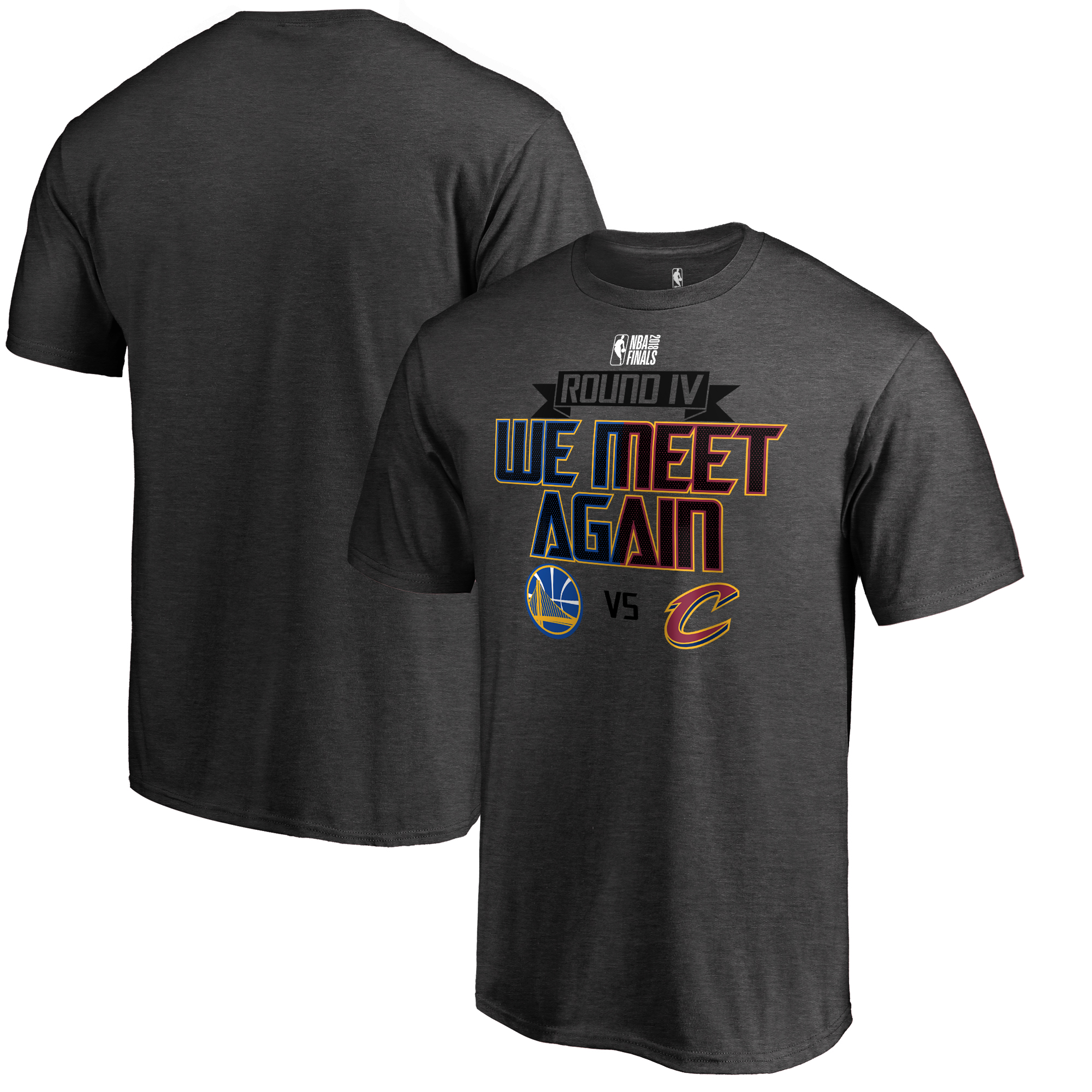 Golden State Warriors vs. Cleveland Cavaliers Fanatics Branded 2018 NBA Finals Bound Dueling Round IV T-Shirt - Heather Gray
