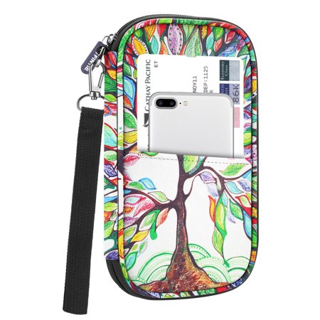 Family Travel Wallet Passport Holder, Fintie RFID Blocking Document Organizer Bag Case w/ Hand Strap Love Tree