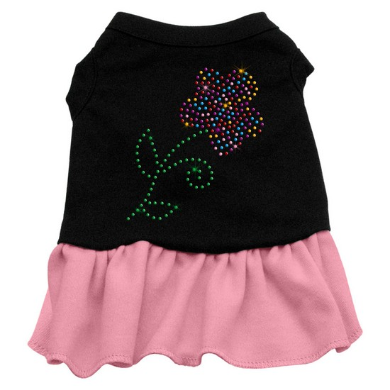 Mirage Pet Products Rhinestone Multi Flower Dress Black with Light Pink Sm (10)