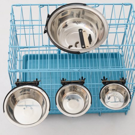 21cm Stainless Steel Pet Bowl Cat Dog Cage Hanging Feeding Watering Bowl - image 6 of 8