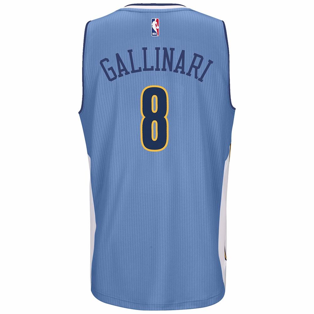 Danilo Gallinari Denver Nuggets NBA Adidas Blue Official Climacool Away Road Swingman Jersey For Men