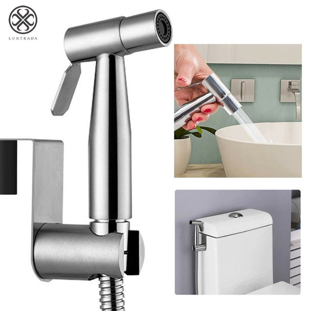 Luxtrada Stainless Steel Handheld Bidet Spray Shower Head Toilet Shattaf Adapter Hose Set Walmart Com Walmart Com