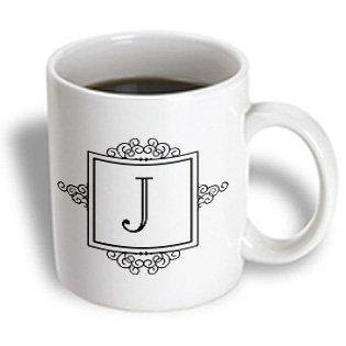 3dRose Initial letter J personal monogrammed fancy black and white typography elegant stylish personalized, Ceramic Mug, 11-ounce](Monogrammed Cups)