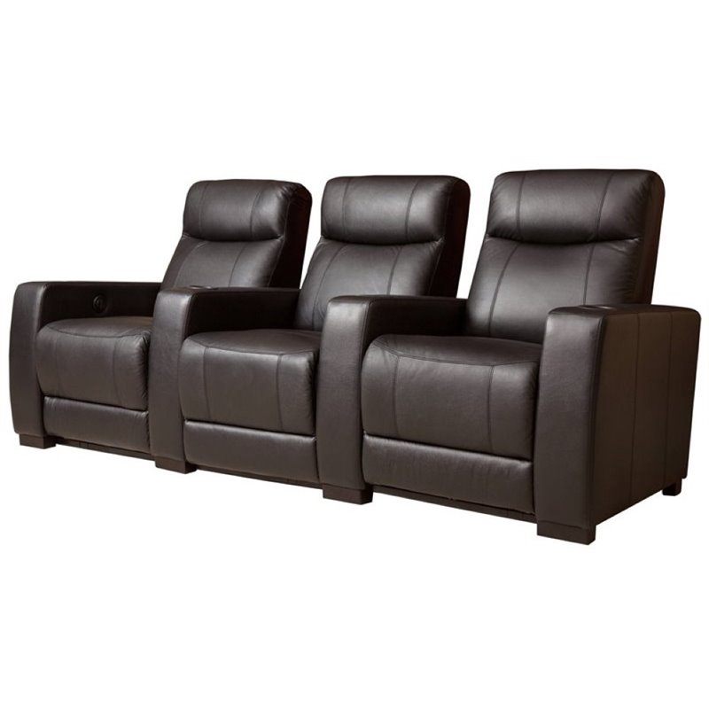 Pemberly Row 3 Seat Leather Reclining Home Theater Seatin...
