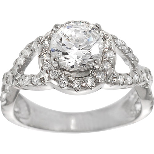 Alexandria Collection Sterling Silver Solitaire Cubic Zirconia Engagement Ring