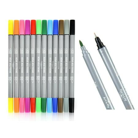 Dual Tip Fineliner Pens Brush Marker Set For Adult Coloring Books Drawing  Sketching Writing Illustration